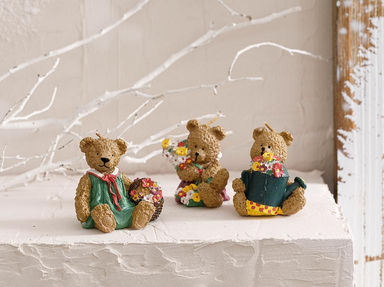 Teddy Bear Parafin 3'lü Mum 15x20 Cm Kahve
