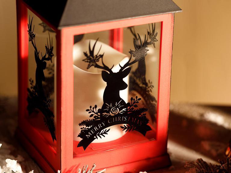 Rosy Deers Cam Plastik Ledli Fener 10,5x10,5x24 Cm Kırmızı
