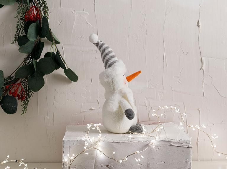 Snowman Polyester Biblo 15*10*17cm Beyaz