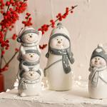 Cheerful Snowman Stoneware Biblo 4.2x5.2x11cm Beyaz