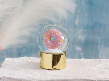 Big Donut Stone Powder/polyresin Kar Küresi 4,5x4,5x6,0 Cm Pembe