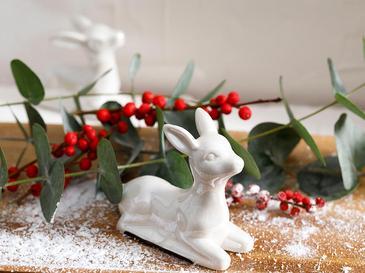 Snow Deer Stoneware Biblo 3.5x8.5x7cm Krem