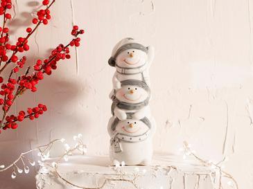 Funny Snowman Stoneware Biblo 5.5x5x14cm Beyaz