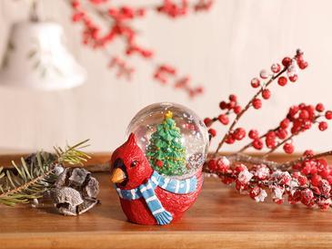 Bird House Stone Powder/polyresin Kar Küresi 6,5x6,5x4,5 Cm Kırmızı