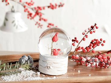 Snow Bird Stone Powder/polyresin Kar Küresi 6,5x6,5x8,5 Cm Krem