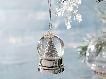 White Christmas Tree Stone Powder/polyresin Kar Küresi 3.5 X 3.5 X 6.2 Beyaz