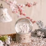 Polar Bear Family Stone Powder/polyresin Kar Küresi 4,5x4,5x6,0 Cm Beyaz