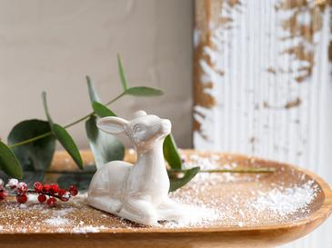 Snow Deer Stoneware Biblo 3.5x7x6.8cm Krem