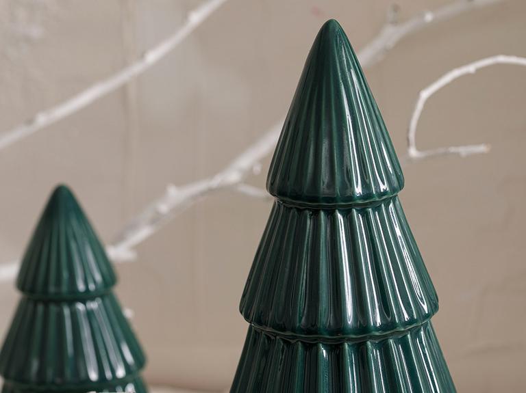 Pine Tree Stoneware Biblo 7x7x10 Yeşil