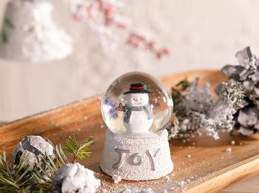 Funny Snowman Stone Powder/polyresin Kar Küresi 4,5x4,5x6,0 Cm Beyaz