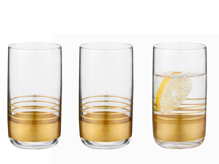 Golden Cam 3'lü Meşrubat Bardağı 365 Ml Gold