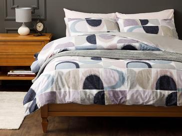 Abstract Pamuk King Size Nevresim Takımı 240x220 Cm Mavi-lila