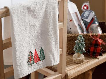 Christmas Tree Nakışlı Paketli Hediyelik Havlu 40x60 Cm Ekru