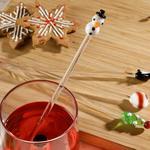 Wintertime Cam 4'lü Kokteyl Karıştırıcı 20 Cm Kırmızı - Yeşil