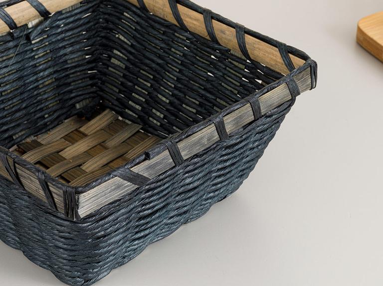 Audrey Hasır Kare Ekmek Sepeti 19x19x9 Cm Mavi