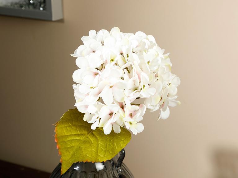 Hydrangea Tek Dal Yapay Çiçek 34 Cm Beyaz