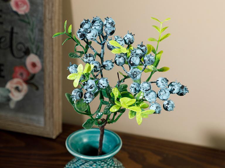 Fruit Branch Köpük Tek Dal Yapay Çiçek 28 Cm Mavi