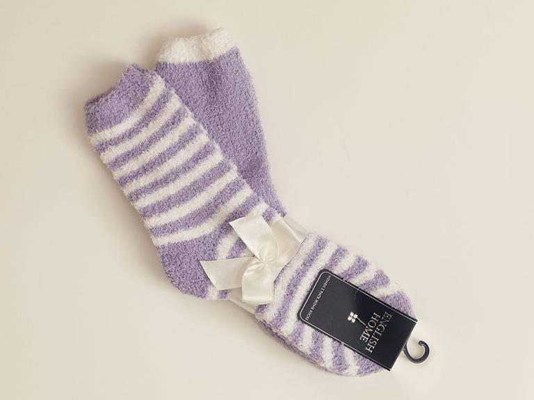 Stripe Peluş Çorap Ekru - Lila