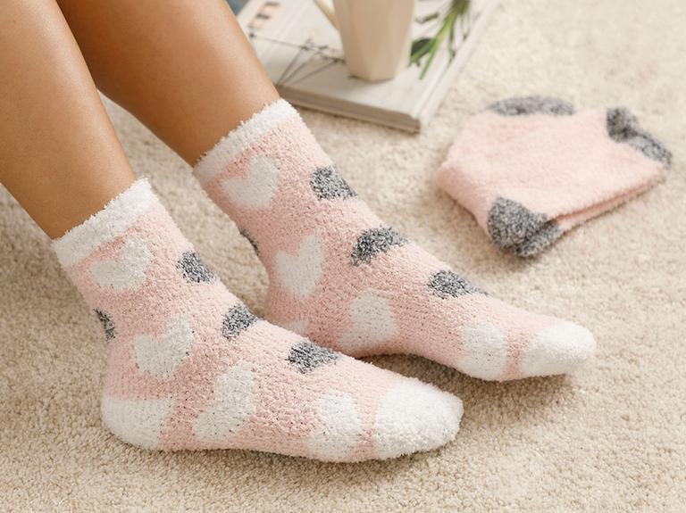 Heart Soft Peluş Çorap Pembe - Beyaz