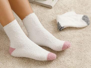 Straight Peluş Çorap Beyaz - Gül Kurusu