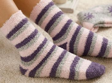 Snowflake Peluş Çorap Bej-mor