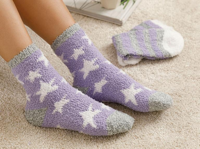 Snowstar Peluş Çorap Lila