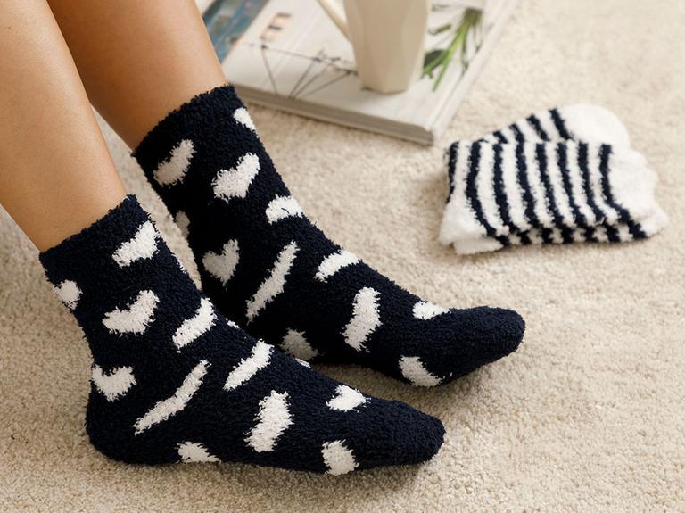 Warm Hearts Peluş Çorap Lacivert