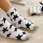 Yıldızlı Peluş Çorap Açık Krem - Lacivert