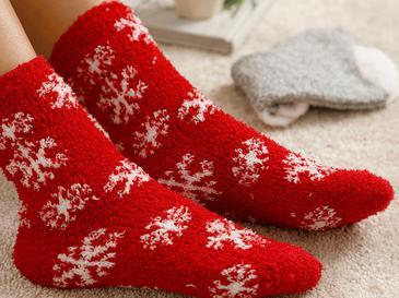 Snow Heart Peluş Çorap Gri - Kırmızı