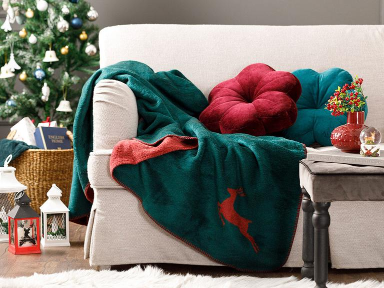 Chic Akrilik Tv Battaniye 130x170 Cm Yeşil-kırmızı