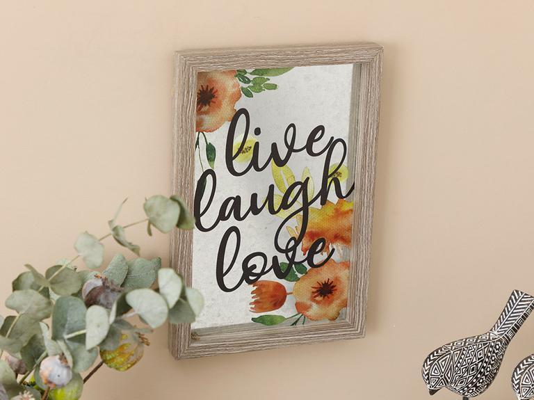 Live Laugh Love Mdf Tablo 20x30 Cm Gri