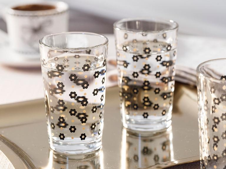 Denby Flowery Cam 6'lı Kahve Yanı Su Bardağı 100 Ml Siyah-gold
