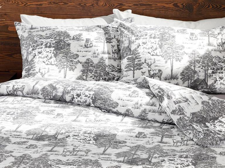 Winter Forest Flanel Çift Kişilik Nevresim Takımı 200x220 Cm Gri