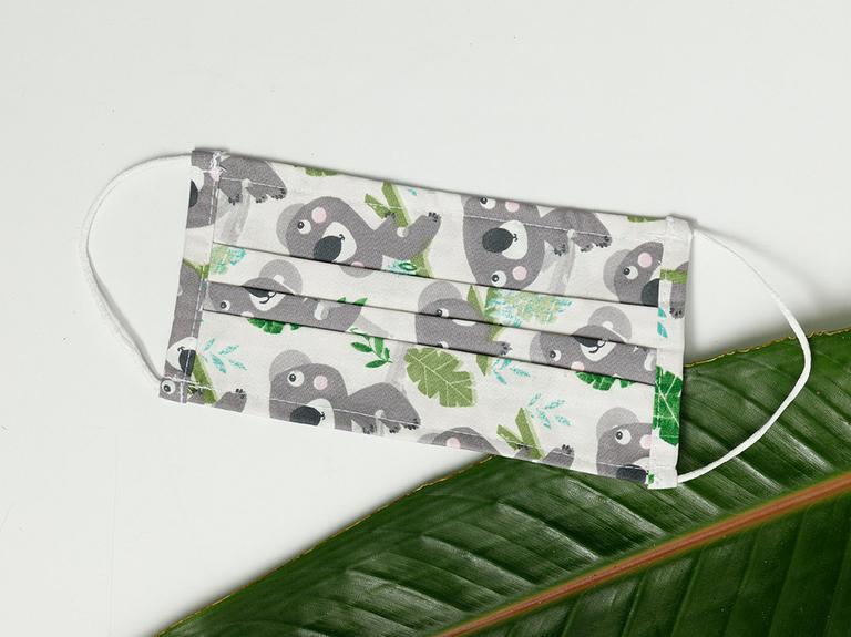 Koala Bear Pamuk Maske 9,5x18 Cm Koyu Gri