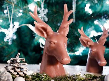 Sweet Deers Parafin Mum 19,5x13,2x11,8 Cm Pembe