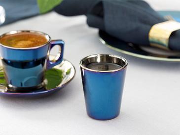 Jade Cam 6'lı Kahve Yanı Su Bardağı 45 Ml Mavi - Lacivert