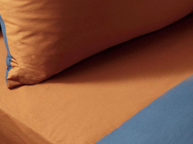 Plain Pamuk Tek Kişilik Nevresim Takımı 160x220 Cm Turuncu-mavi