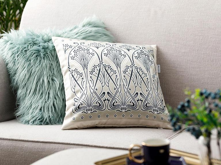 Art Nouveau Saten Kırlent 45x45 Cm Bej