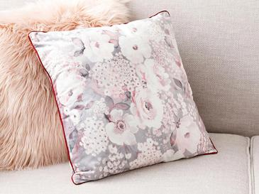 Romantic Floral Kadife Kırlent Kılıfı 45x45 Cm Gri - Pembe