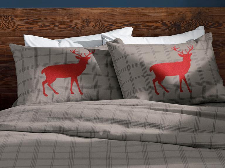 Deer Check Flanel Tek Kişilik Nevresim Takımı 160x220 Cm Gri