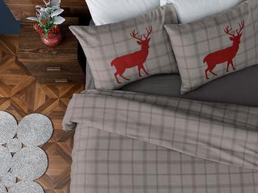 Deer Check Flanel Çift Kişilik Nevresim Takımı 200x220 Cm Gri