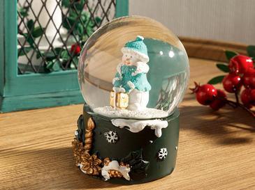 Snowman Polyresin Kar Küresi 7,5*6,8*9,5cm Yeşil