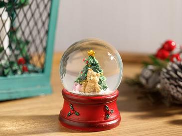 Christmas Tree Polyresin Kar Küresi 7,5*6,8*9,5cm Kırmızı