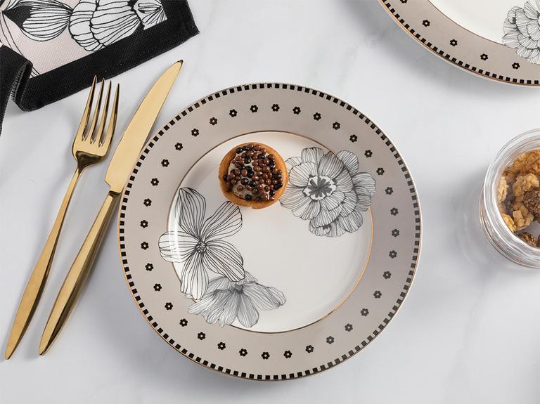 Denby Elegant New Bone Pasta Tabağı 20 Cm Siyah - Beyaz - Krem
