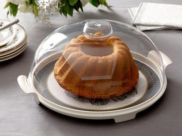 Denby Dark Kapaklı Kek Fanus 31 Cm Siyah - Beyaz