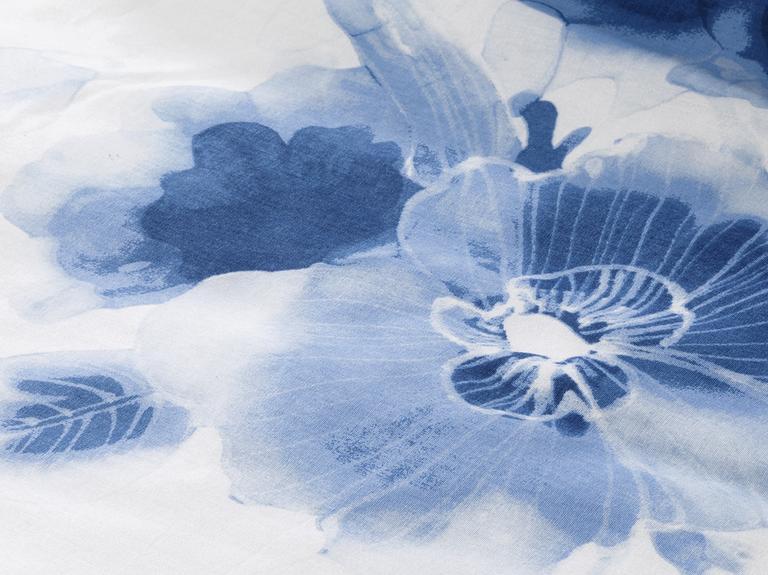Water Roses Pamuklu Çift Kişilik Nevresim 200x220 Cm Mavi