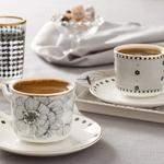 Denby Flowery New Bone 4 Parça Kahve Fincan Takımı 90 Ml Siyah - Beyaz - Krem
