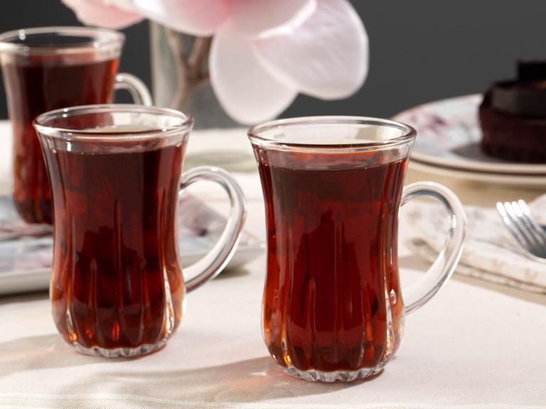 Aroya Cam 4'lü Kulplu Çay Bardağı 140 Ml Şeffaf