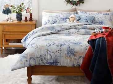 Wintertime Pamuk Çift Kişilik Nevresim Takımı 200x220 Cm Mavi
