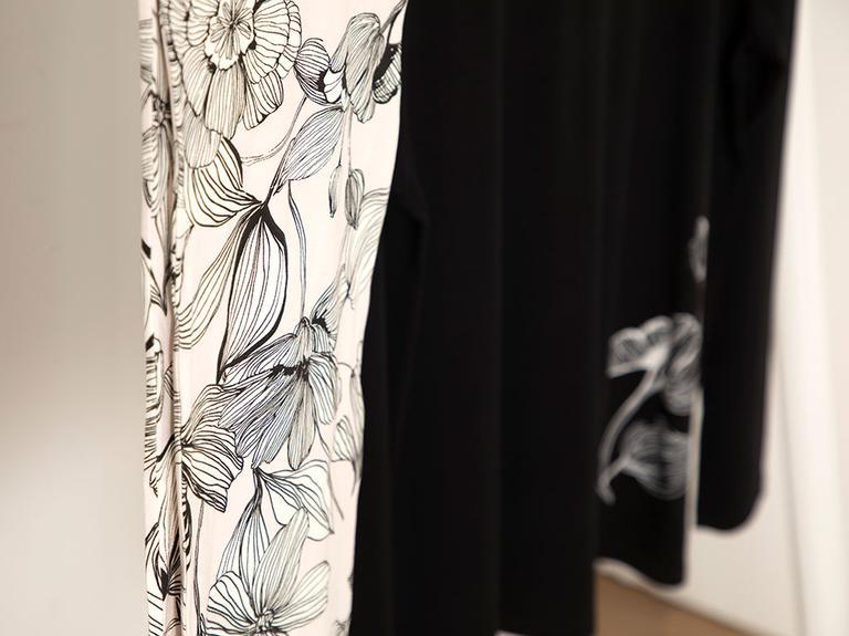 Big Flower Viskon Pijama Takımı S-m Siyah - Beyaz